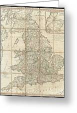 1790 Faden Map Of The Roads Of Great Britain Or England Greeting Card
