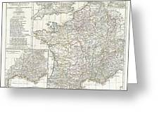 1794 Anville Map Of Gaul  Or France In Ancient Roman Times Greeting Card