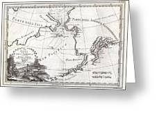 1798 Cassini Map Of Alaska And The Bering Strait Greeting Card