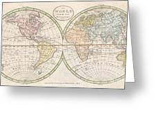 1798 Payne Map Of The World  Greeting Card