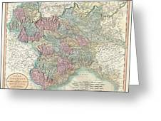 1799 Cary Map Of Piedmont Italy  Milan Genoa  Greeting Card