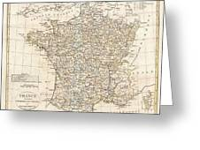 1799 Clement Cruttwell Map Of France In Departments Greeting Card