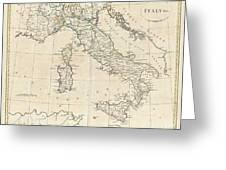 1799 Clement Cruttwell Map Of Italy Greeting Card