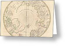 1799 Clement Cruttwell Map Of North Pole Greeting Card
