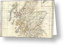 1799 Clement Cruttwell Map Of Scotland Greeting Card