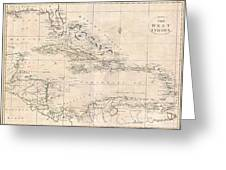 1799 Clement Cruttwell Map Of West Indies Greeting Card