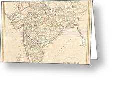 1799 Clement Crutwell Map Of Hindoostan Greeting Card