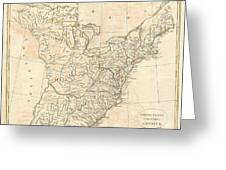 1799 Cruttwell Map Of The United States Of America Greeting Card