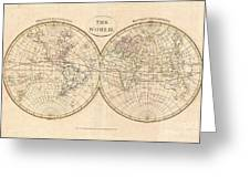 1799 Cruttwell Map Of The World In Hemispheres Greeting Card