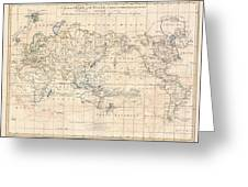 1799 Cruttwell Map Of The World On Mercators Projection Greeting Card