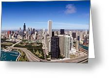Aerial View Of Buildings In A City Greeting Card