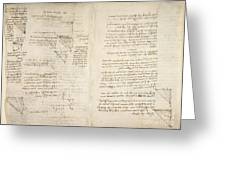 Notes By Leonardo Da Vinci, Codex Arundel Greeting Card
