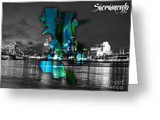Sacramento Map And Skyline Watercolor Greeting Card