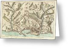 1800 Bardi Map Of Genoa Genova Italy  Greeting Card