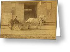 1800's Vintage Photo Of Horse Drawn Carriage Greeting Card