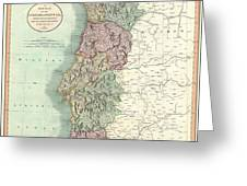 1801 Cary Map Of Portugal Greeting Card