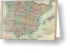 1801 Cary Map Of Spain And Portugal Greeting Card