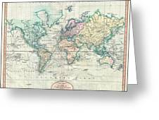 1801 Cary Map Of The World On Mercator Projection Greeting Card