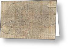 1802 Chez Jean Map Of Paris In 12 Municipalities France Greeting Card