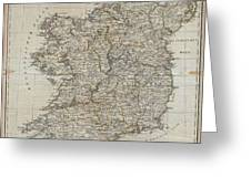 1804 Jeffreys And Kitchin Map Of Ireland Greeting Card