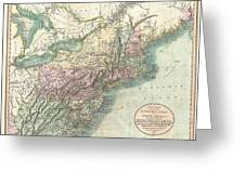 1806 Cary Map Of New England New York Pennsylvania New Jersey And Virginia Greeting Card