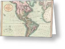 1806 Cary Map Of The Western Hemisphere  North America And South America Greeting Card