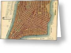 1807 Bridges Map Of New York City Greeting Card