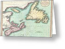 1807 Cary Map Of Nova Scotia And Newfoundland Greeting Card