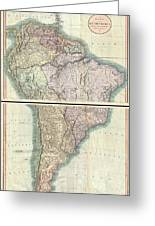 1807 Cary Map Of South America Greeting Card