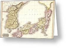 1809 Pinkerton Map Of Korea And Japan Greeting Card