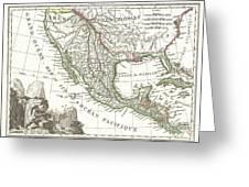 1810 Tardieu Map Of Mexico Texas And California Greeting Card
