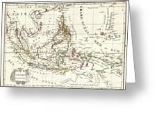 1810 Tardieu Map Of The East Indies Singapore Southeast Asia Sumatra Borneo Java Greeting Card