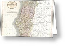 1811 Cary Map Of The Kingdom Of Portugal Greeting Card
