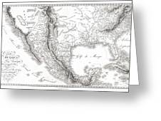 1811 Humboldt Map Of Mexico Texas Louisiana And Florida Greeting Card