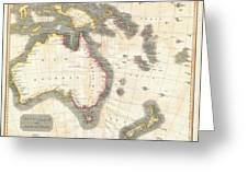 1814 Thomson Map Of Australia New Zealand And New Guinea Greeting Card