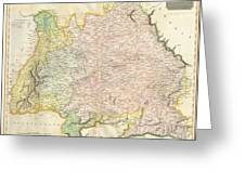 1814 Thomson Map Of Bavaria Germany Greeting Card