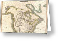 1814 Thomson Map Of North America Greeting Card