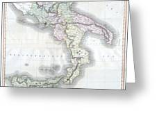 1814 Thomson Map Of Southern Italy Greeting Card