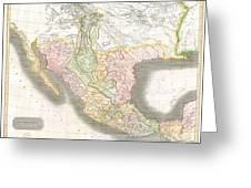 1814 Thomson Map Of Texas Mexico  Louisiana Greeting Card