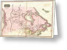 1818 Pinkerton Map Of British North America Or Canada Greeting Card