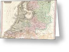 1818 Pinkerton Map Of Holland Or The Netherlands Greeting Card