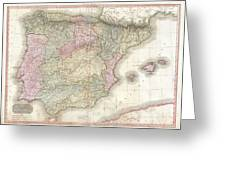 1818 Pinkerton Map Of Spain And Portugal Greeting Card