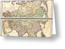 1820 Lizars Wall Map Of Asia Greeting Card