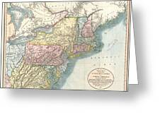 1821 Cary Map Of New England New York Pennsylvania And Virginia Greeting Card
