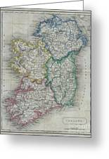1822 Butler Map Of Ireland Greeting Card