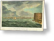 1825 Wall And Hill View Of New York City From The Hudson River Port Folio Greeting Card