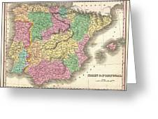 1827 Finely Map Of Spain And Portugal Greeting Card