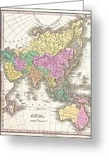 1827 Finley Map Of Asia And Australia Greeting Card