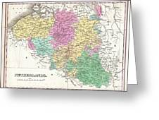 1827 Finley Map Of Belgium And Luxembourg Greeting Card