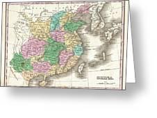 1827 Finley Map Of China  Greeting Card